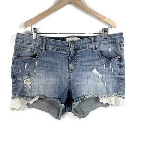Torrid  Denim Shorts Lace Raw Hem Distressed